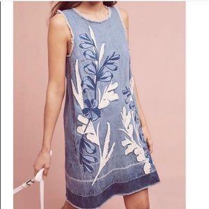 Holding Horses • Embroidered Denim Shift Dress XS
